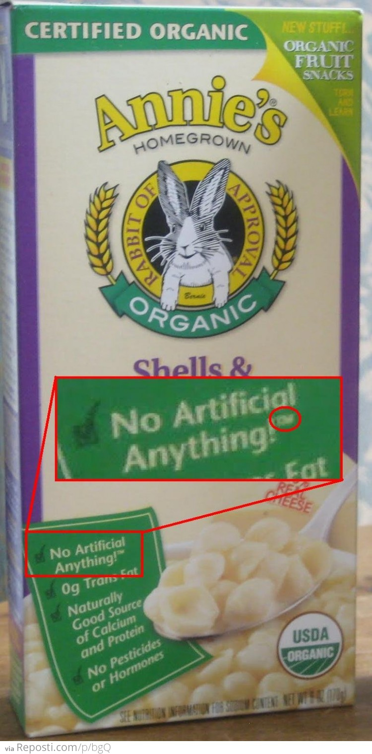 No Artificial Anything!