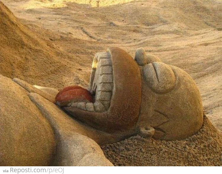 Homer Sleeping Sand Sculpture