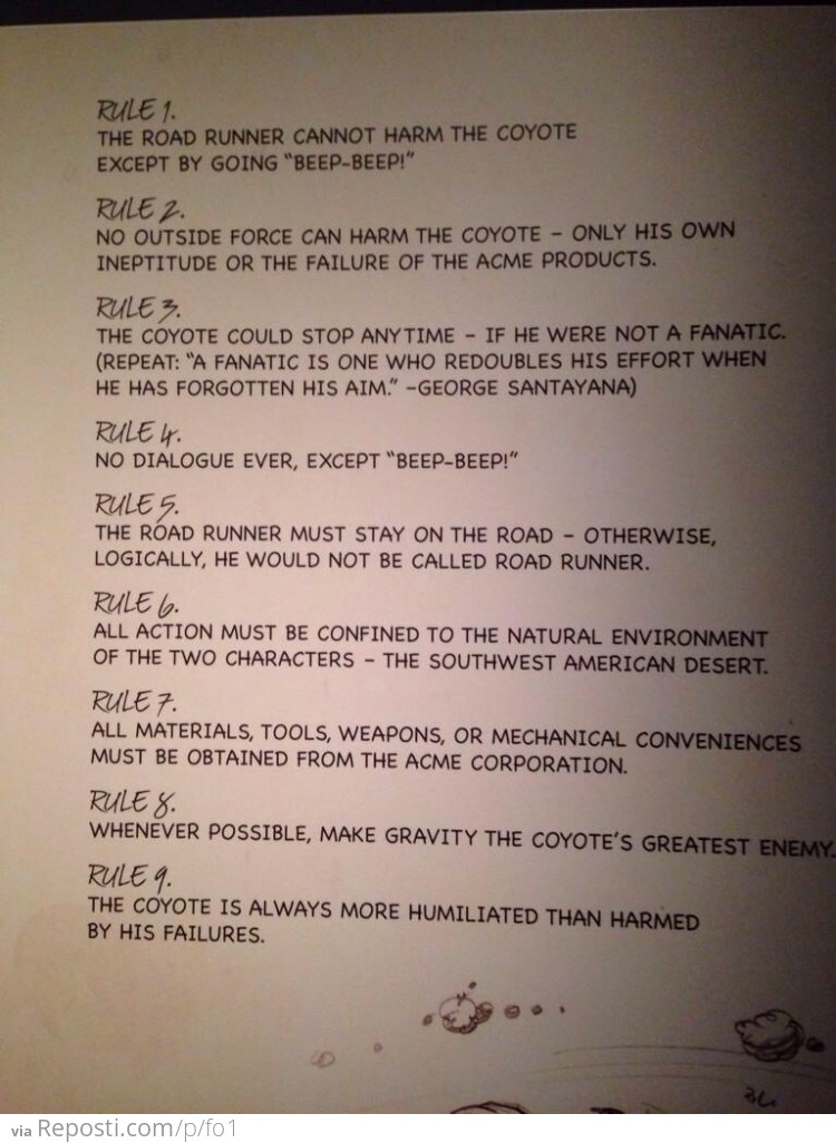 Cartoonist Chuck Jones' Rules